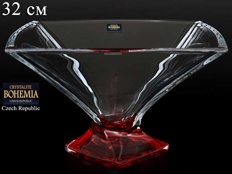 Квадро красная Ваза для фруктов Crystalite Bohemia 32 см
