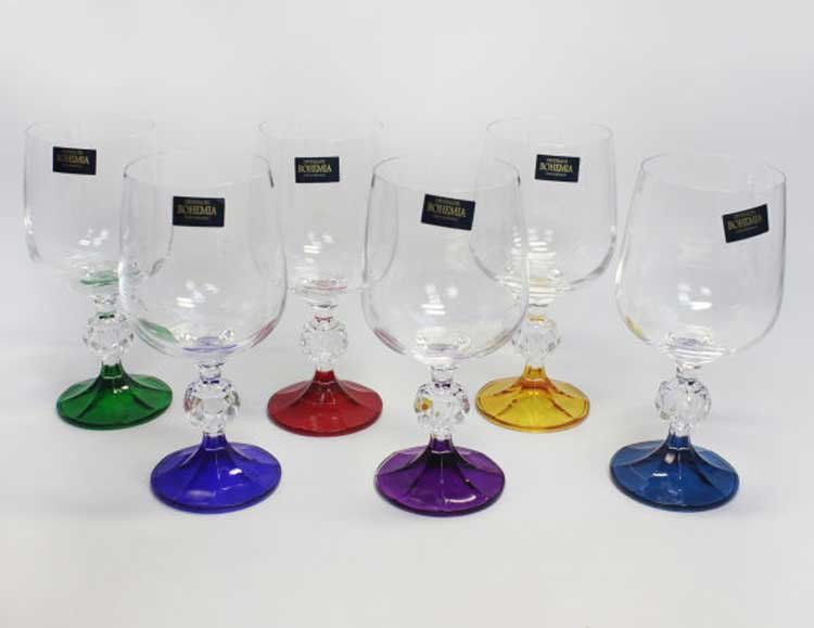 Арлекино ножка Клаудия Набор бокалов для вина 230 мл Кристалайт (6 шт)
