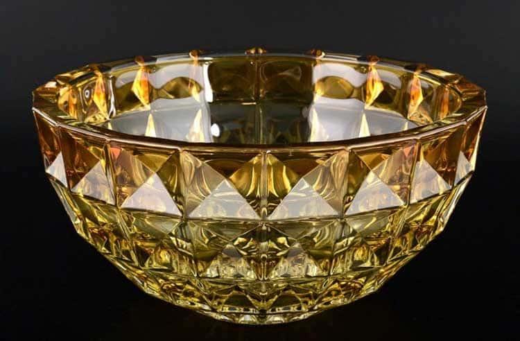 DIAMOND желтая Ваза для фруктов Crystalite Bohemia 28 см
