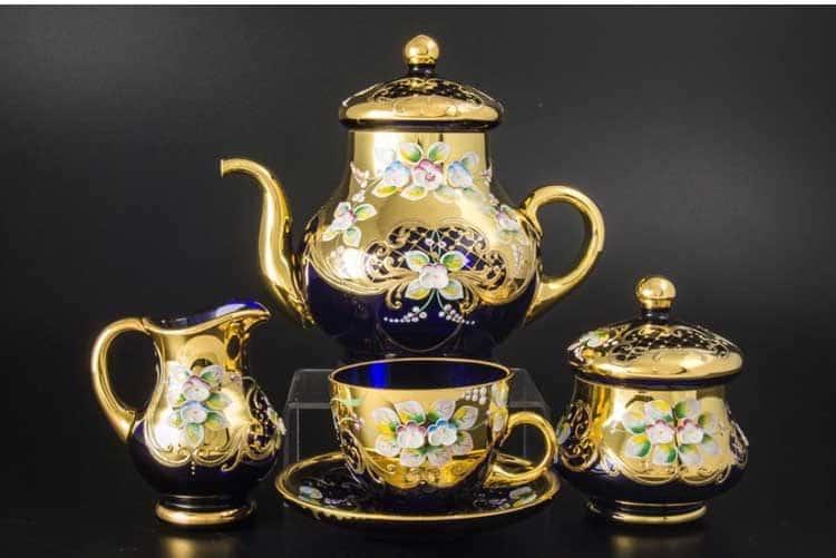 Лепка синяя E-V Чайный сервиз на 6 персон 15 пр