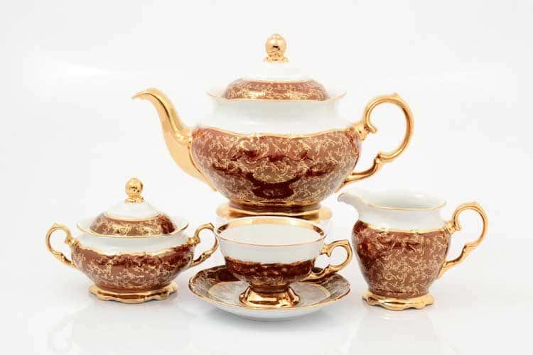 Красный лист Чайный сервиз на 6 персон 17 предметов Sterne porcelan