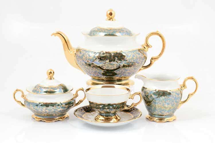 Зеленый лист Чайный сервиз на 6 персон 17 предметов Sterne porcelan