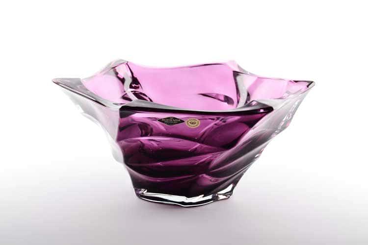Фламенко фиолетовая Фруктовница Bohemia Treasury 29,5 см