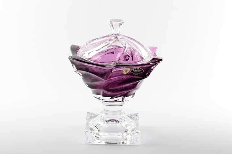 Flamenco фиолетовая Конфетница на ножке с крышкой Bohemia Treasury 25 см