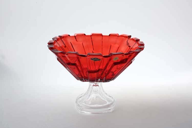 Bolero красная Фруктовница на ножке 31 см BOHEMIA TREASURY