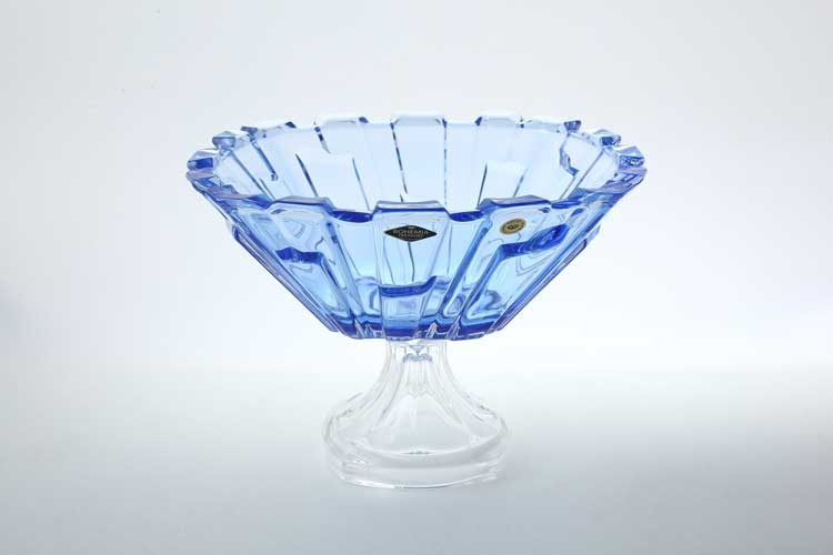 Bolero синяя Фруктовница на ножке 31 см BOHEMIA TREASURY