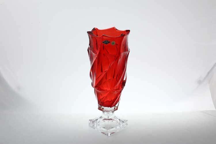 Фламенко красная Ваза для цветов на ножке Bohemia Treasury 38 см