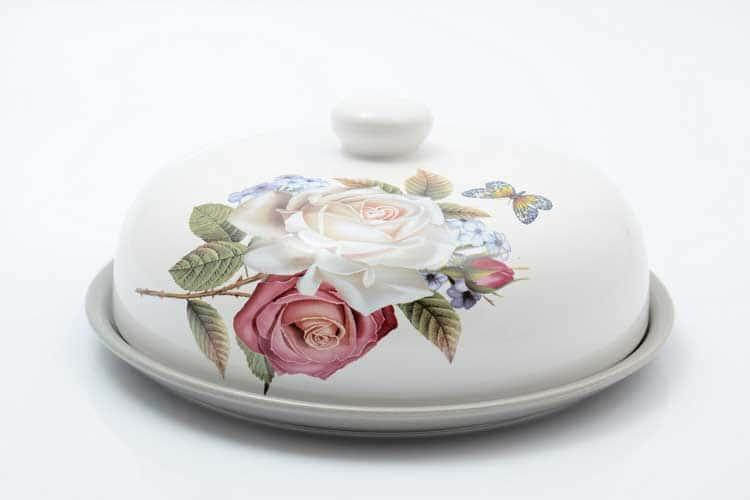 Розы Блюдо для блинов с крышкой 23*23*10 см Royal Classics