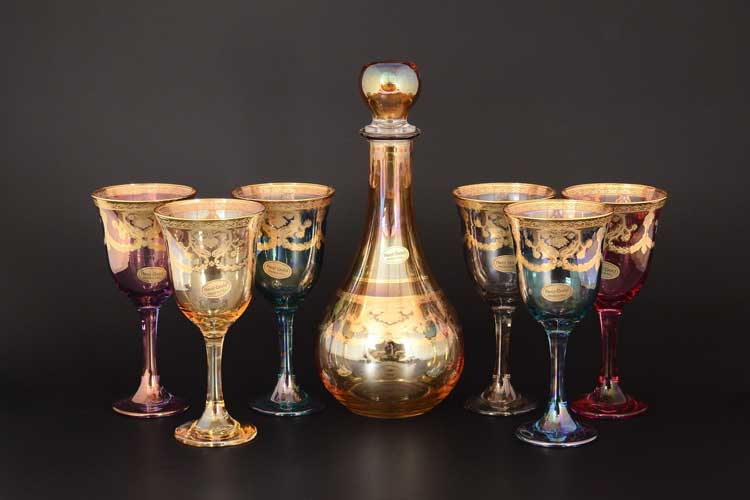 Veneziano Color Набор 7 предметов графин и стаканы Art Decor