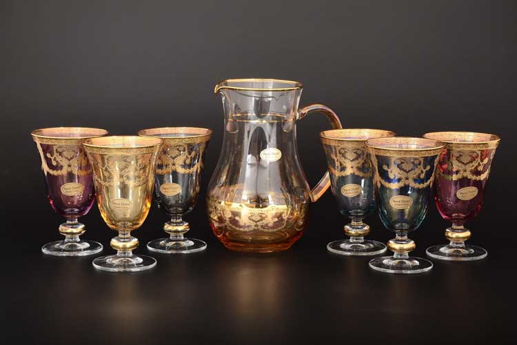Veneziano Color Набор 7 предметов графин и стаканы 1+6 Art Decor