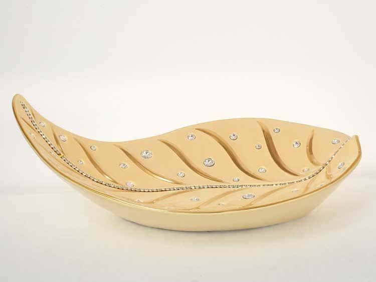 Лист Фруктовница кремовая с золотом с кристаллами 28*50, h-7 см Bruno Costenaro