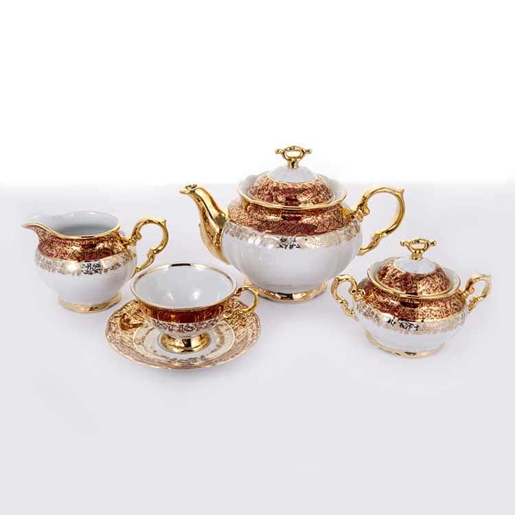 Мария Луиза Лист красный Чайный сервиз Thun на 6 персон 15 предметов
