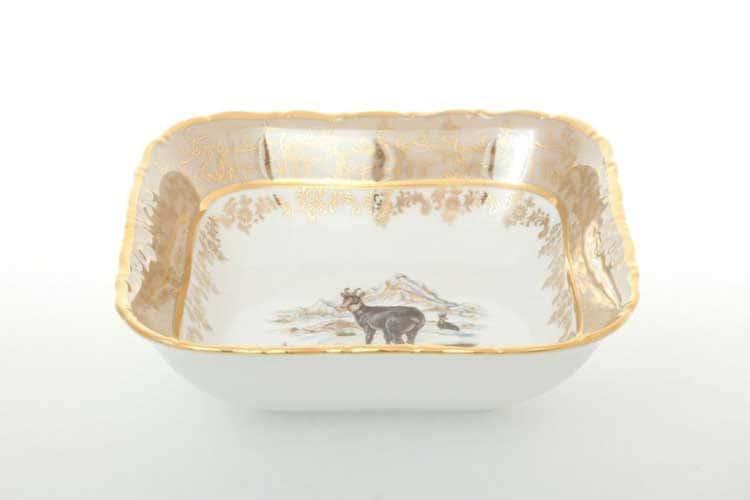 Охота Бежевая Салатник квадратный 16 см Sterne porcelan