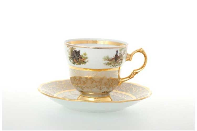 Охота Бежевая Набор кофейных пар 140 мл Sterne porcelan (6 пар)