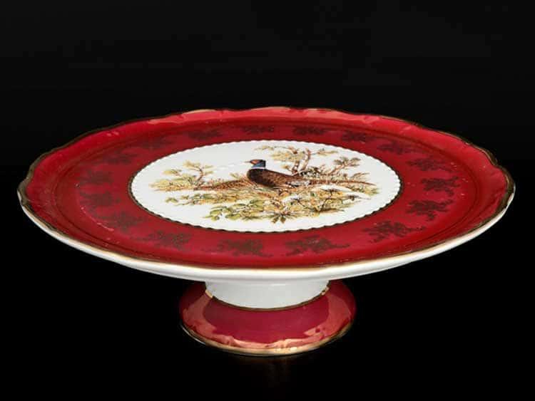 Фредерика Охота Красная Тарелка для торта на ножке 32 см