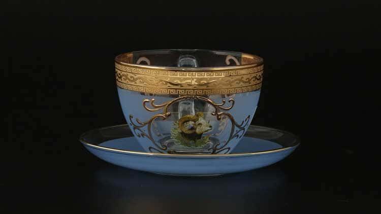 Версаче Охота синяя B-G Набор чайных пар 220 мл (6 пар)