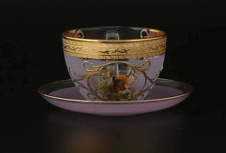 Версаче Охота розовая B-G Набор чайных пар 220 мл (6 пар)