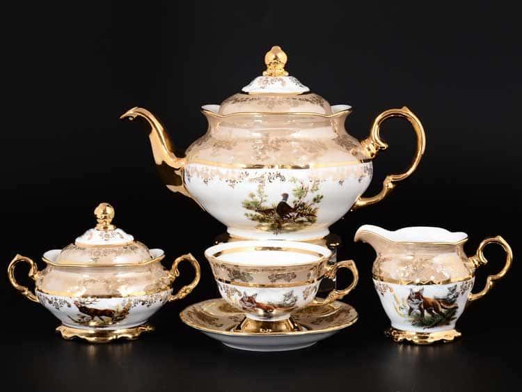Фредерика Охота бежевая Чайный сервиз на 6 персон 17 предметов Moravec