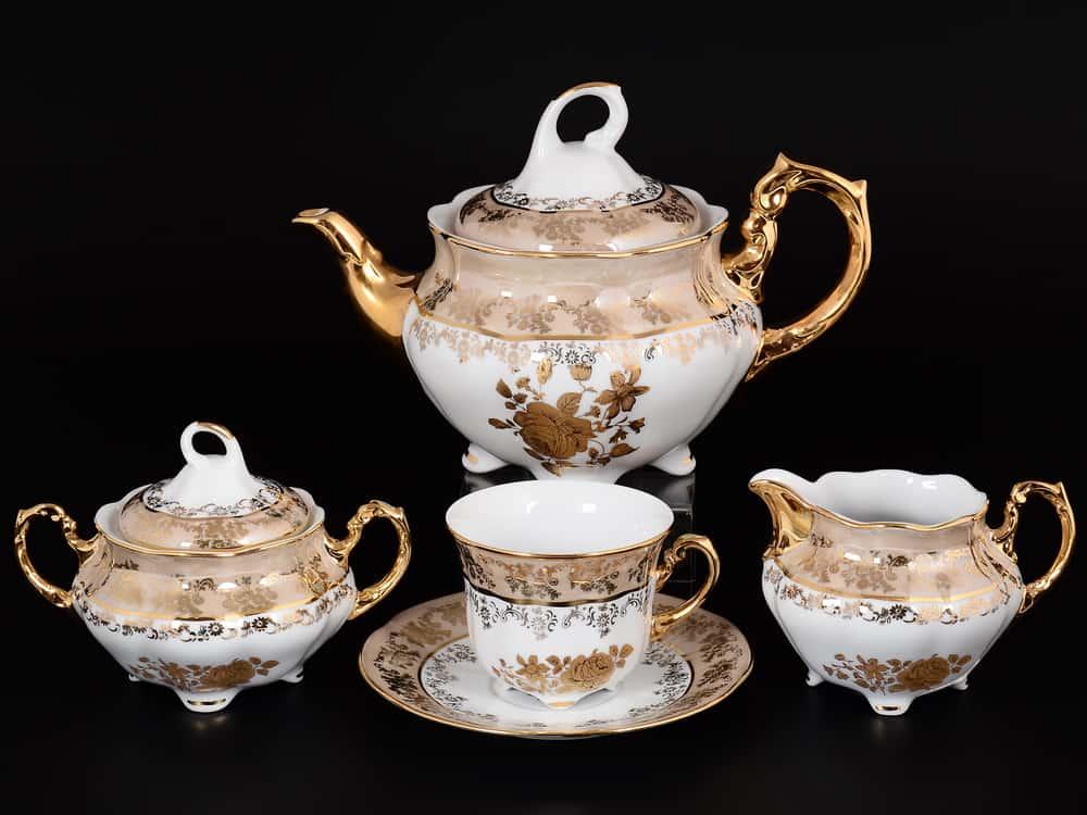 Роза бежевая Чайный сервиз на 6 персон 15 предметов Royal Czech Porcelain