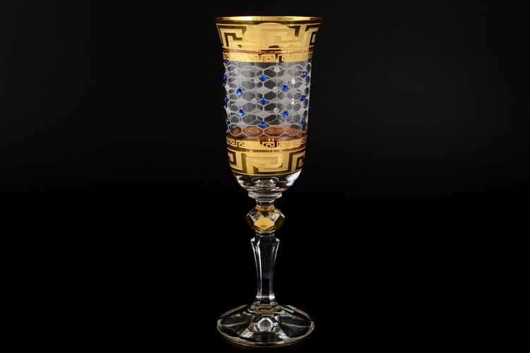Кристина Костка Стразы синие Набор фужеров для шампанского 180 мл (6 шт)