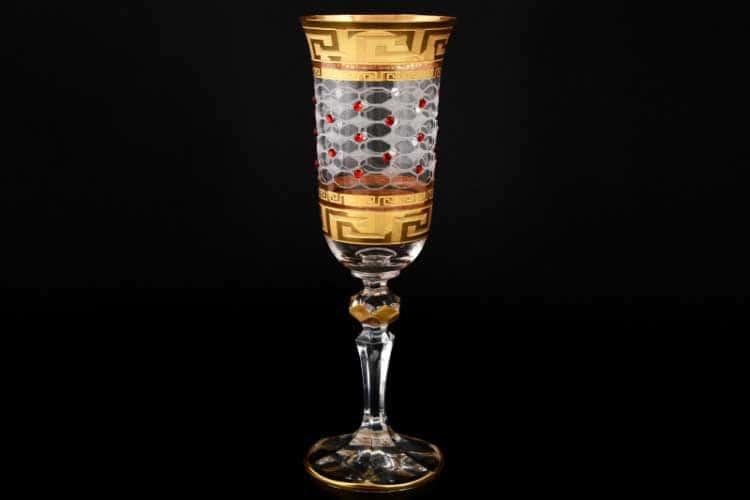 Кристина Костка Стразы красные Набор фужеров для шампанского 180 мл (6 шт)