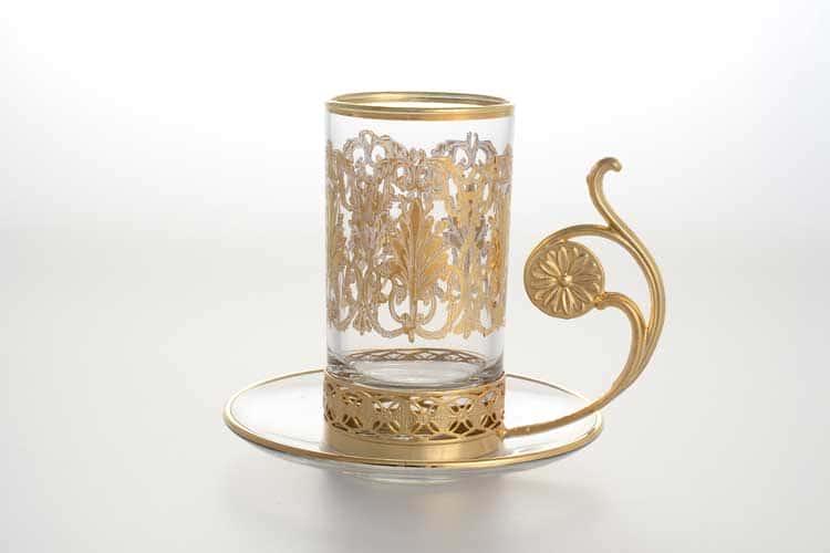 Набор чайных пар TIMON золотая ручка 160 мл