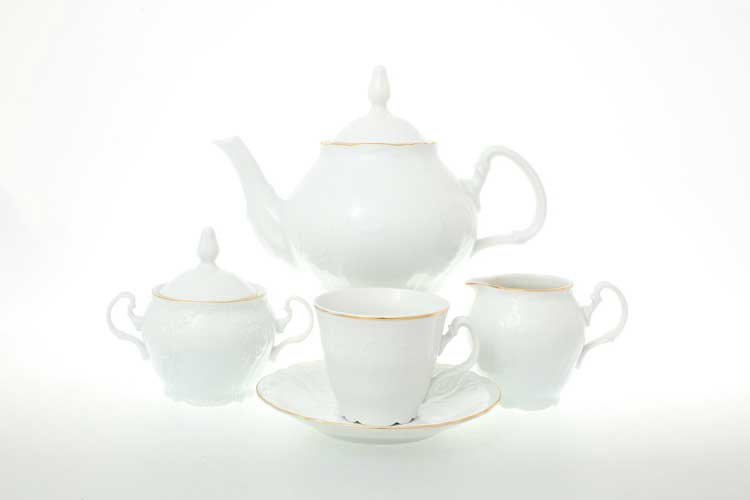Бернадотт Белый узор Чайный сервиз на 6 персон 17 предметов (ведерко)