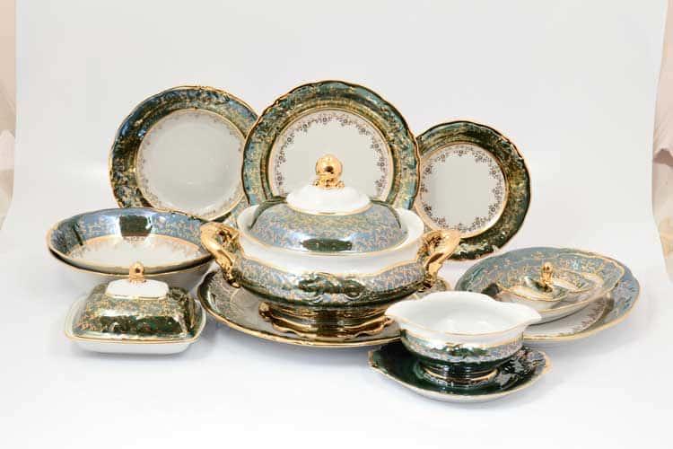 Столовый сервиз Зеленый лист Sterne porcelan на 6 персон 27 предметов