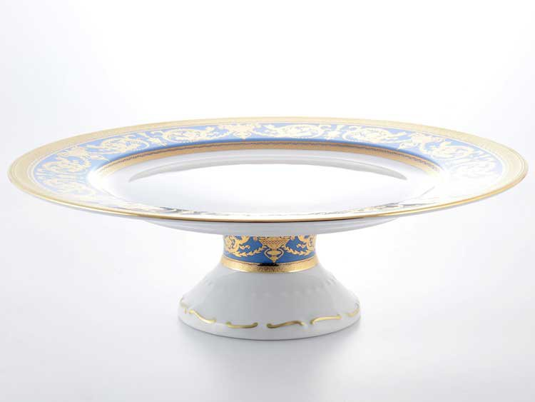 Тарелка для торта Imperial Blue Gold Falken 32 см на ножке