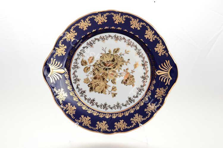 Тарелка для торта Констанция Кобальт Золотая роза Thun 27 см