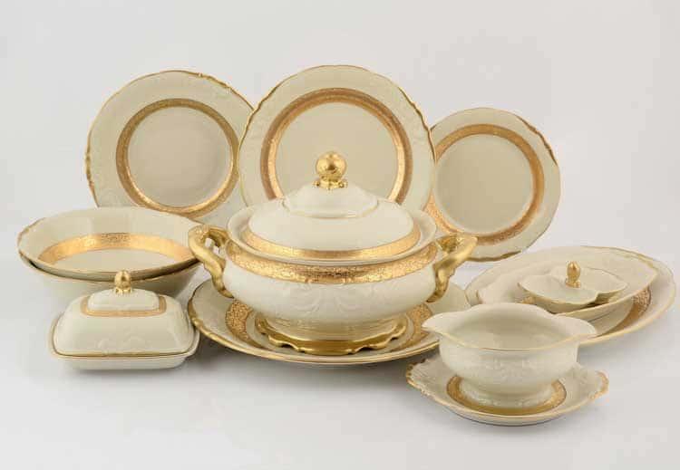 Матовая лента Слоновая кость Столовый сервиз Sterne porcelan на 6 персон 27 предметов