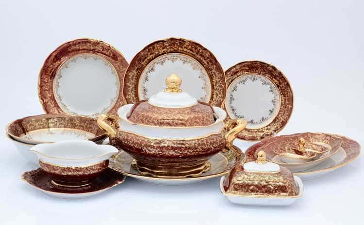 Красный лист Столовый сервиз Sterne porcelan на 6 персон 26 предметов
