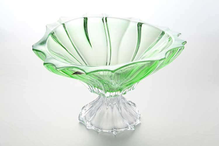 Фруктовница на ножке PLANTICA зеленая Aurum Crystal 35 см