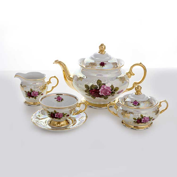 Сервиз чайный Роза перламутр Carlsbad на 6 перс.15 пред.