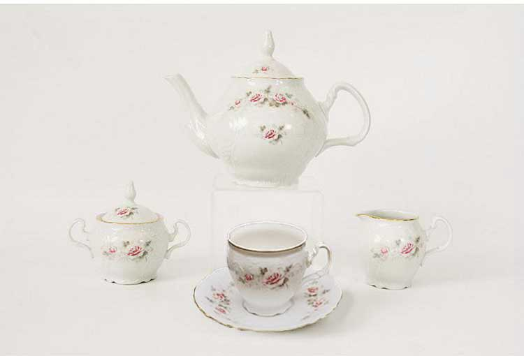 Сервиз чайный Роза серая 5396011 на 6 перс.15 пред.
