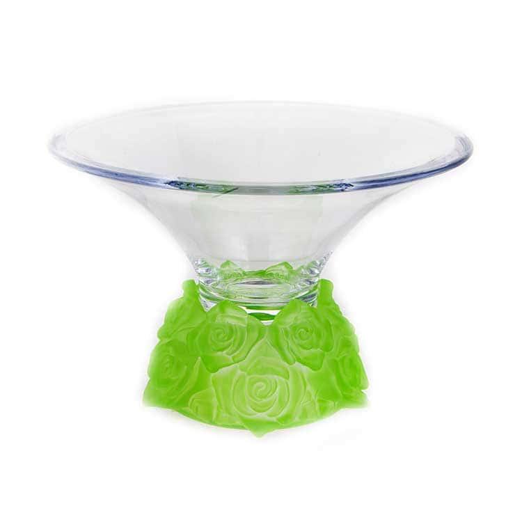 Фрост Розы Зеленый Ваза для фруктов Crystalite 25,5 cм