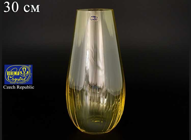 Waterfall Кристалекс Ваза для цветов Bohemia Crystal 30 см желтая