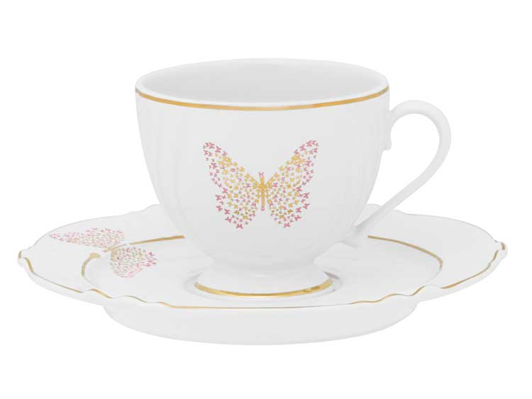 Чайная пара (чашка + блюдце) Бабочка Oxford 200 мл