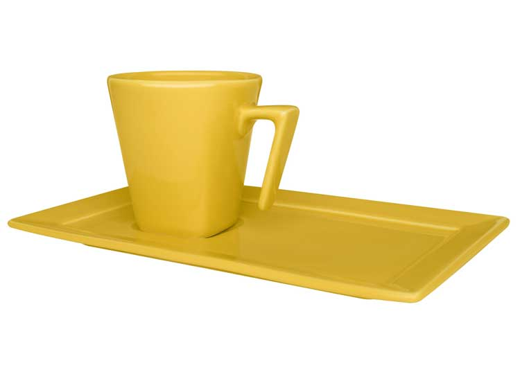 Чайная пара (чашка + блюдце) Oxford желтый 200 мл квадрат