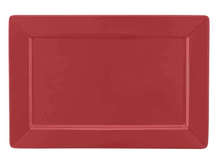 Тарелка квадратная Oxford красный 30х20 см
