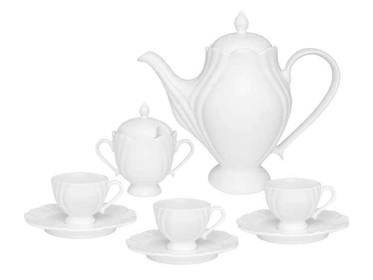 Кофейный сервиз Oxford белый 14 предметов