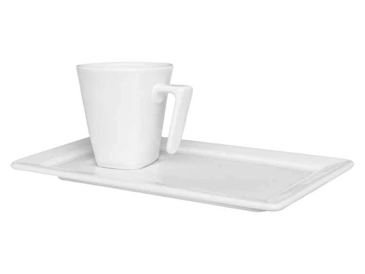 Кофейная чашка с блюдцем Oxford белый 65 мл квадрат