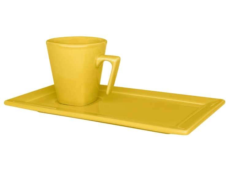Кофейная чашка с блюдцем Oxford желтый 65 мл квадрат