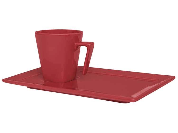 Кофейная чашка с блюдцем Oxford красный 65 мл квадрат