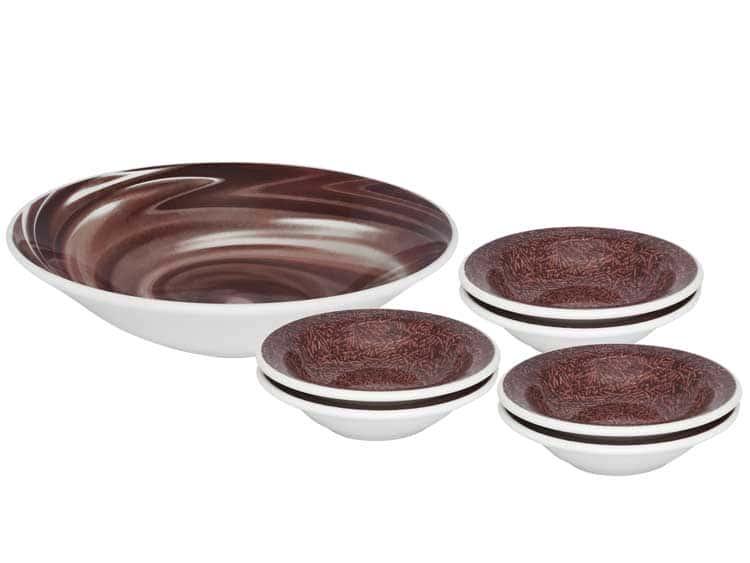 Десертный набор Oxford 7 предметов (тарелка для фруктов + 6 десертных тарелок) коричневый