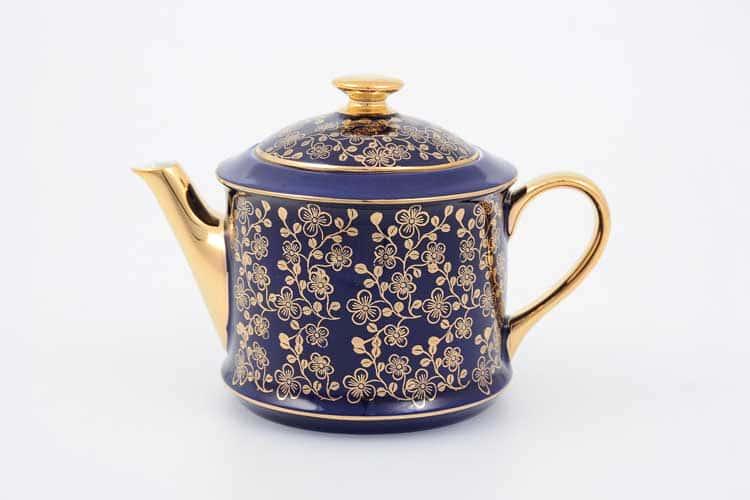 Чайник Виндзор золотые цветы Leander, синий 400 мл