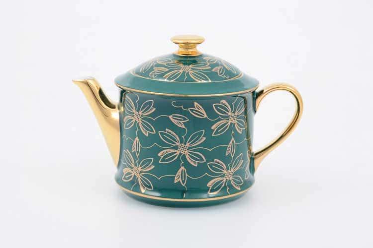 Чайник Виндзор золотые цветы Leander, зеленый 400 мл