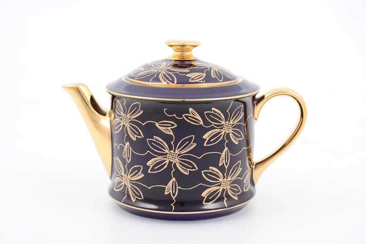 Чайник Виндзор золотые цветы Leander, черный 400 мл