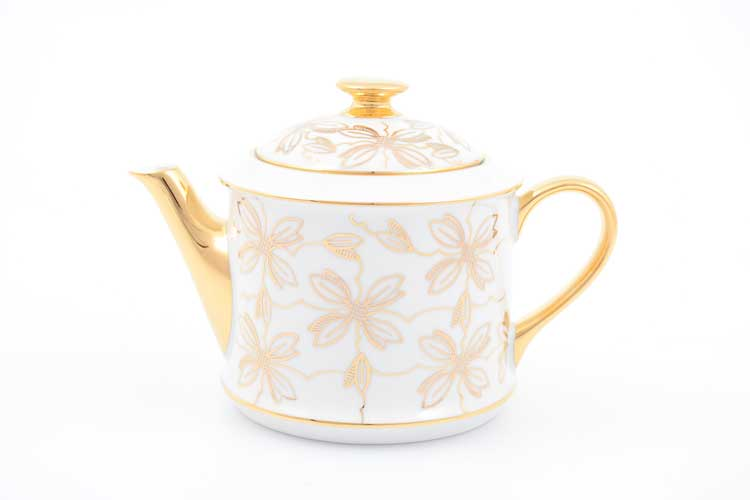 Чайник Виндзор золотые цветы Leander, белый 400 мл