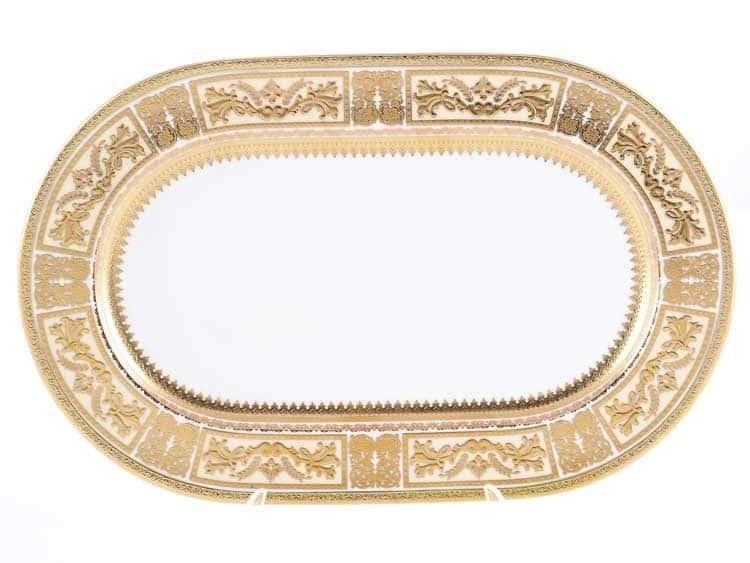 Блюдо овальное Diadem White Creme Gold Falken 36 см